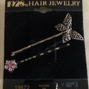 1928 Butterfly & Flower Hair Jewelry Bobby Pins